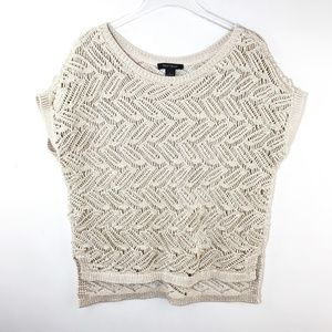 White House Black Market Sweater Open Knit Gold